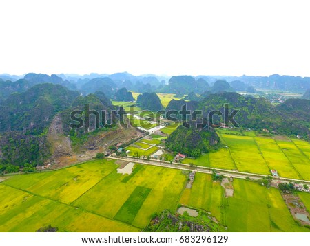 Tam Coc - Bich Dong tourist destination with drone view  #683296129