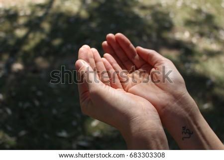 Hands praying meditation background #683303308