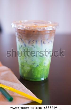 Ice coffee fusion three layer (espresso,milk and Matcha green tea) #683321911