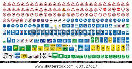 Collection of warning, mandatory, prohibition and information traffic signs. European traffic signs collection. Vector illustration.  Royalty-Free Stock Photo #683327617