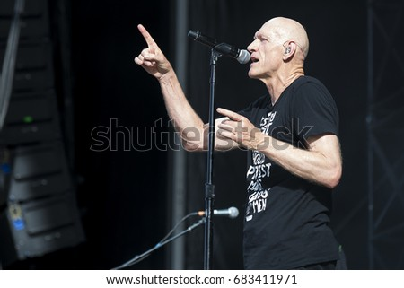 Nyon, Switzerland - 19 July 2017: Concert of Australian rock band Midnight Oil at Paleo Festival #683411971