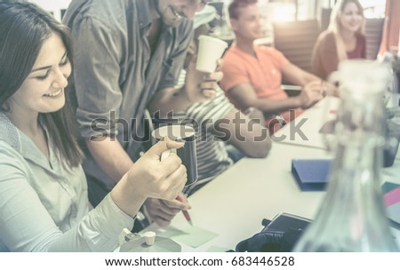 office workers team enjoy together at coffee time. concept of teamwork togetherness. #683446528