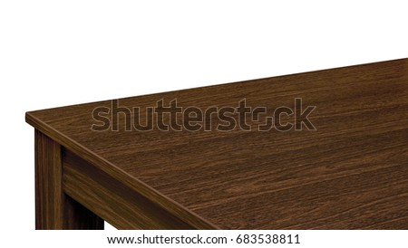 Empty walnut table top corner isolated on white background including clipping path #683538811
