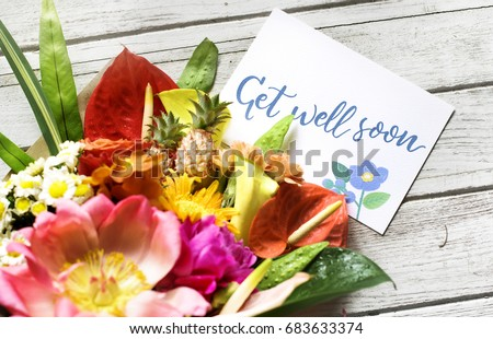 Get well soon message with bouquet #683633374