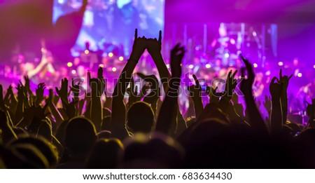 Spectators at a rock concert #683634430