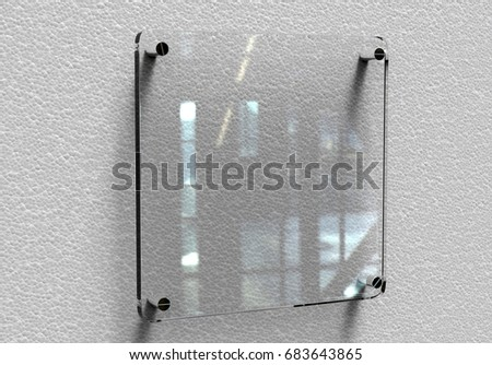 Blank transparent glass Interior Office Corporate Signage plate mock up, Office name plate mock up on the wall. Signage panel, store door template. Clear printing board for branding.