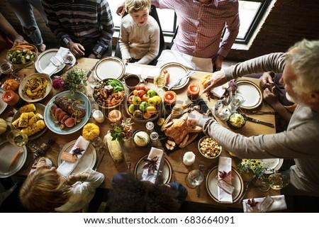 Thanksgiving Celebration Tradition Family Dinner Concept #683664091