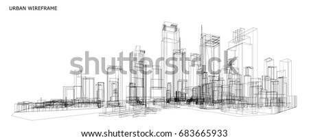 Cityscape Sketch, Vector Sketch. Urban Architecture - Illustration Royalty-Free Stock Photo #683665933