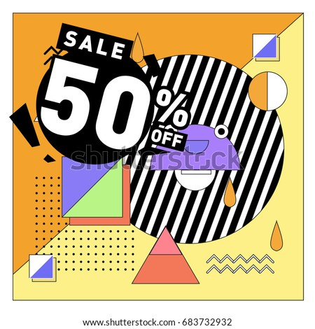 Summer sale memphis style web banner. Fashion and travel discount. Vector holiday Abstract colorful illustration with special offers and promotion. #683732932