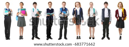 Collage of children in different school uniforms on white background Royalty-Free Stock Photo #683771662