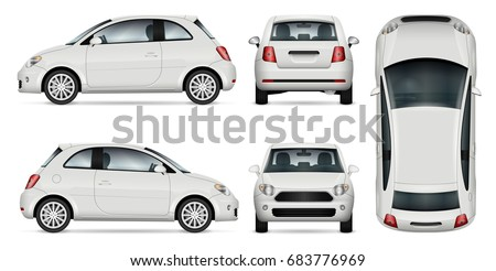Mini car vector template for car branding and advertising. Isolated minicar set on white background. All layers and groups well organized for easy editing and recolor. View from side, front, back, top Royalty-Free Stock Photo #683776969
