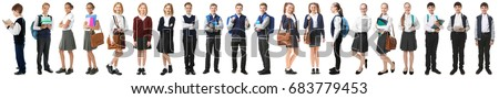 Collage of children in different school uniforms on white background Royalty-Free Stock Photo #683779453
