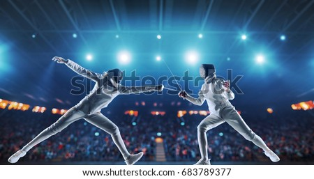 Two female fencing athletes fight on professional sports arena with spectators and lense-flares. Women wear unbranded sports clothes. Arena is made in 3D. Royalty-Free Stock Photo #683789377