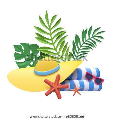 3d render, decorative paper craft, beach towel, hat, tropical leaves,  vacation design elements, summer holiday clip art isolated on white background