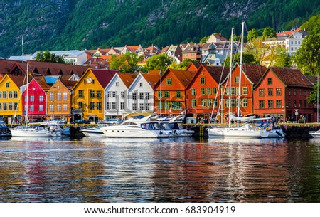 Bergen, Norway. View of historical buildings in Bryggen- Hanseatic wharf in Bergen, Norway. UNESCO World Heritage Site #683904919