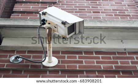 closed caption tv camera, security, old tech, rusted, you are being watched symbol