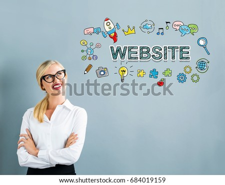 Website text with business woman on a gray background #684019159