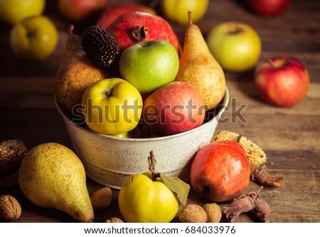 Autumn fruits Royalty-Free Stock Photo #684033976