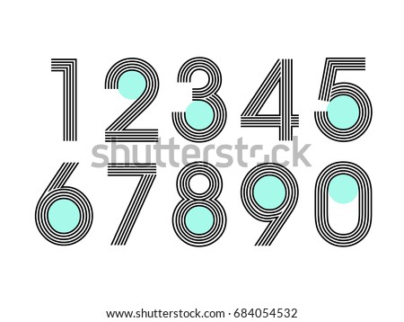 (Element) set of ten numbers form zero to nine, number flat design Royalty-Free Stock Photo #684054532