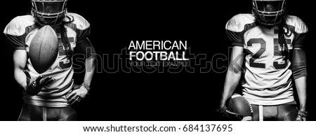 Sport concept. American football sportsman player on black background with copy space. Sport concept.
