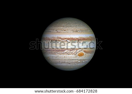 Jupiter planet, isolated on black.