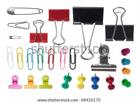 complete collection of various type of paper clip on white background. each one is shot separately Royalty-Free Stock Photo #68426170