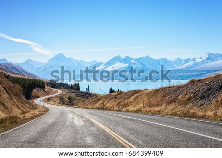 Scenic Road to Mount Cook National Park (near  Lake Pukaki) ,South Island, New Zealand.