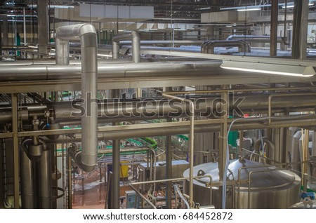 Pipes in brewery factory #684452872
