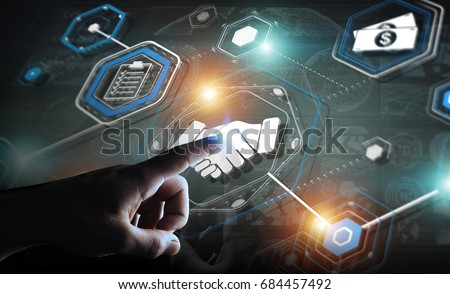 Businessman on blurred background using digital presentation for partnership business 3D rendering #684457492