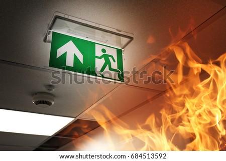 Fire alarm in a modern building #684513592
