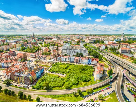 Szczecin - the old town from the bird's eye view. Royal Castle and landscape of Szczecin with the horizon. Royalty-Free Stock Photo #684536899