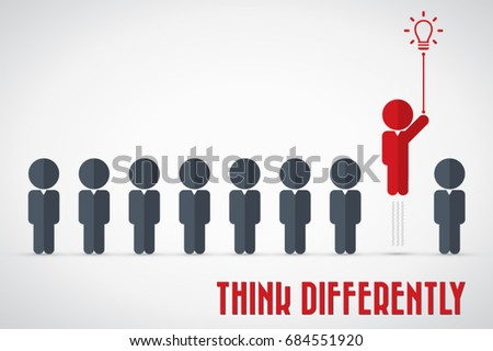 Think differently - Being different, move for success in life - flying out from the crowd by light bulb of idea Royalty-Free Stock Photo #684551920