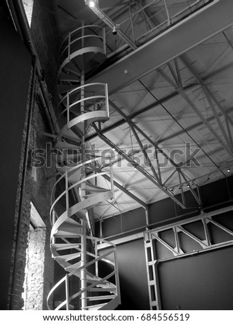Spiral staircase black and white photography #684556519