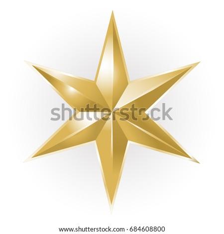 Golden Christmas star on white background #684608800