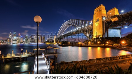 A night scenery of Sydney Harbour Bridge from Kirribilli Point with Sydney City as a background. #684688720