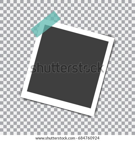 Retro photo frame with shadow on sticky tape pin on a transparent background #684760924