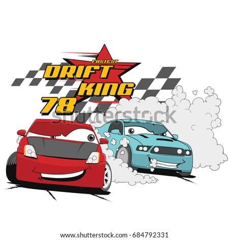 Vector Cartoon Car Illustration For Print