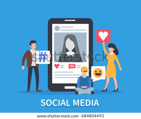 Social media concept banner. Flat style vector illustration. #684804493