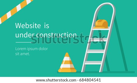 Website under construction page. Flat style vector illustration. Royalty-Free Stock Photo #684804541