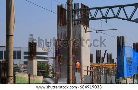 JAKARTA, INDONESIA - JULY 26, 2017: Development of rail track at Manggarai Railway Station, South Jakarta #684919033