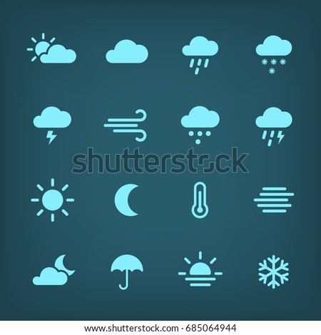 Blue vector weather Icon set. #685064944