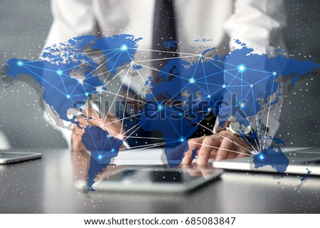 Concept of consulting. World map and lawyer signing documents on background #685083847