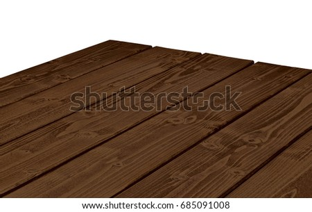Perspective view of empty, wooden table corner on white background including clipping path  #685091008