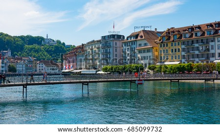 LUCERNE, SWITZERLAND - JULY 04, 2017: View of historic Lucerne city center, Switzerland. Lucerne is the most populous town in Central Switzerland. #685099732