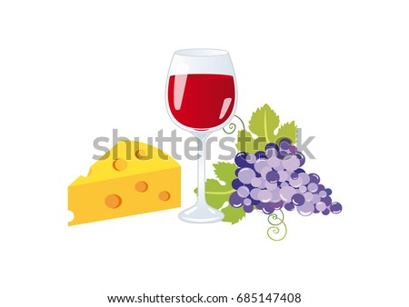 Wine and cheese clip art. Wine on a white background. Still life with wine, grapes and cheese