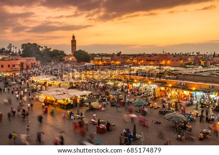 Jamaa el Fna market square, Marrakesh, Morocco, north Africa. Jemaa el-Fnaa, Djema el-Fna or Djemaa el-Fnaa is a famous square and market place in Marrakesh's medina quarter. #685174879