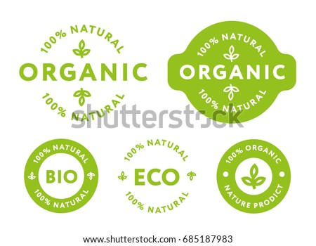 Collection of Green Healthy Organic Natural Eco Bio Food Products Label Stamp.  Royalty-Free Stock Photo #685187983
