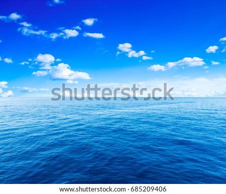 Beautiful sky and blue ocean #685209406