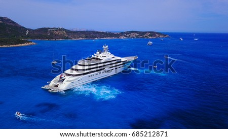 Aerial photograph of Dilbar- biggest yacht in the World, taken on July 27 at noon. #685212871
