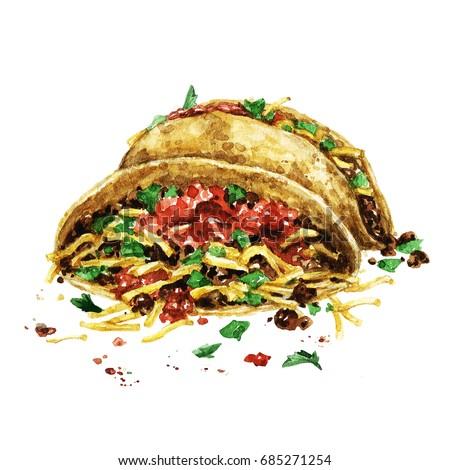 Tacos. Watercolor Illustration.